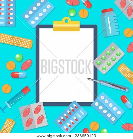 Pharmacy Flat Postern With Icons Of Medicines And Health Care. Tablets Blisters Patch Thermometer Sy