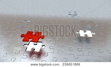 3d Illustration Of Two White Holes In Puzzle Pieces Floor With One Red Piece And One Grey Above All