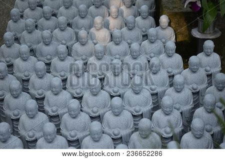 This Image Of Japanese Jizo Statues Was Captured At A Shinto Temple In Kamakura, Japan On May 4, 201