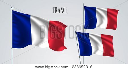 France Waving Flag Set Of Vector Illustration. White Red Colors Of France Wavy Realistic Flag As A P