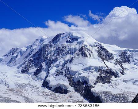 Lyskamm At Monte Rosa Massif, Swiss Alpine Mountain Range Glacier Landscapes In Alps, Switzerland Fr