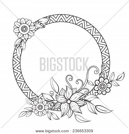 Flowers Decorative Frame. Isolated On White Background. Floral Monochrome Ornament. Design Element W