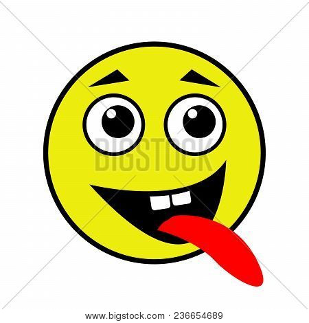 A Cheerful Smiley Shows The Tongue. Vector Illustration