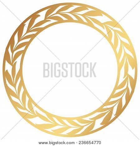 Vector Stencil Lacy Round Frame With Carved Openwork Pattern With Olive Branches.  Golden Wreath Of