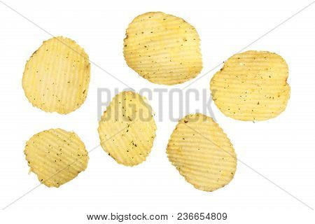 Potato Chips Isolated On White Background Close-up. Top View. Flat Lay.