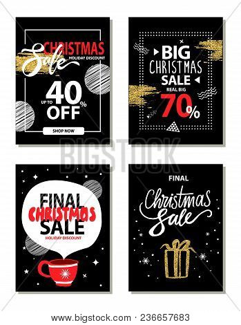 Christmas Sale, Really Big 70 Off, Holiday Discount, Collection Of Promo Posters With Headlines, Fra