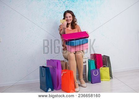 Happy Woman After Shopping With Colorful Bags, Boxes, Credit Card