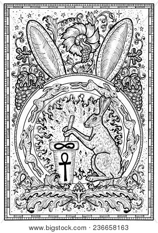 Rabbit Symbol In Frame. Hair With Mortar And Pestle, Baroque And Floral Decorations In Fire Circle.