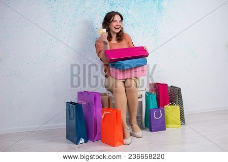 Happy Woman After Shopping With Colorful Bags, Boxes, Banking Card