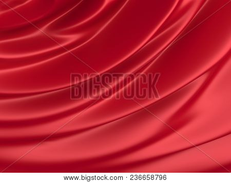 Beautiful Red Satin Fabric For Drapery Abstract Background
