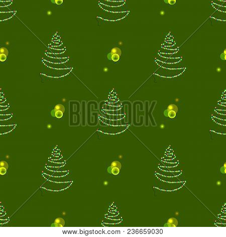 Christmas Abstract Tree Made Of Garlands With Glittering Lamps Lights Vector Illustration Seamless P