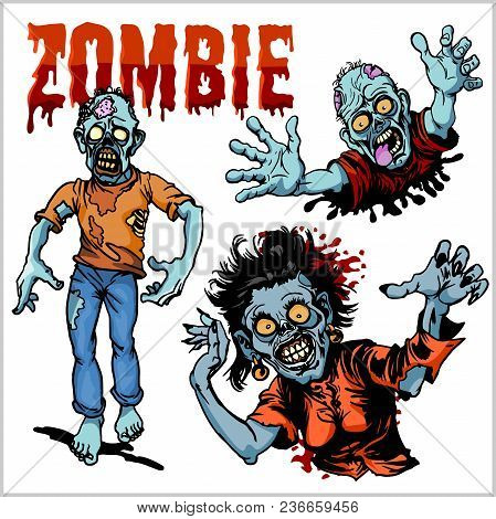 Zombie Comic Set - Cartoon Zombie. Set Of Color Drawings Of Zombies.