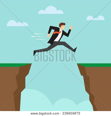 Businessman Jump Through The Gap Between Cliffs. Running And Jump Over Canyon To Success. Business R
