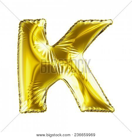 Golden letter K made of inflatable balloon isolated on white background. 3d rendering