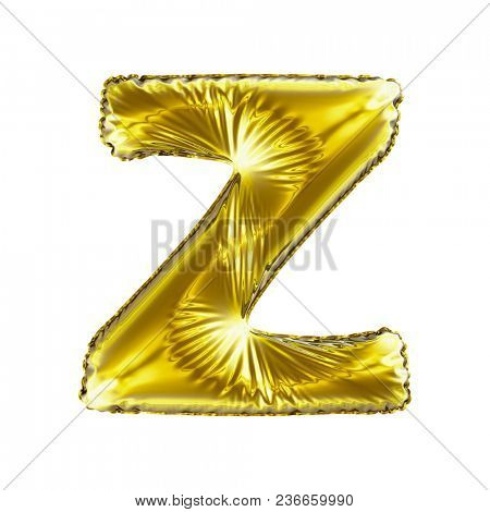 Golden letter Z made of inflatable balloon isolated on white background. 3d rendering
