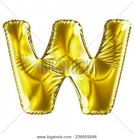 Golden letter W made of inflatable balloon isolated on white background. 3d rendering