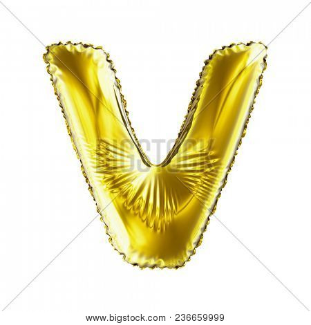 Golden letter V made of inflatable balloon isolated on white background. 3d rendering