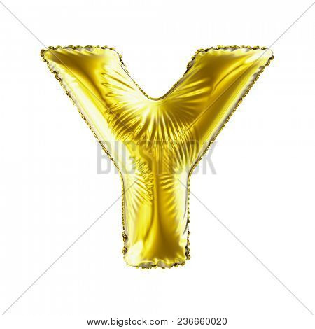 Golden letter Y made of inflatable balloon isolated on white background. 3d rendering