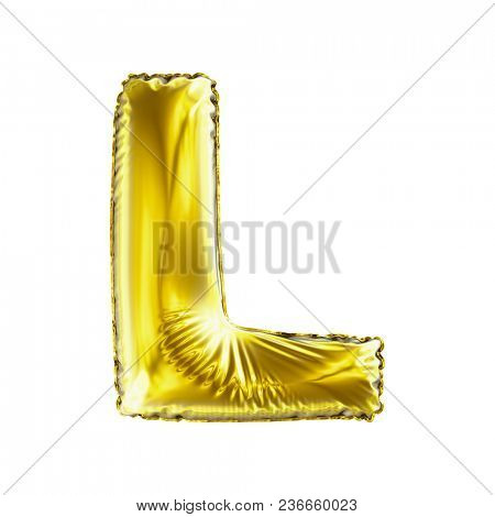 Golden letter L made of inflatable balloon isolated on white background. 3d rendering