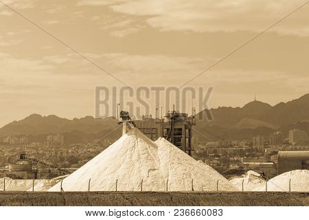White Pyramids With Natural Organic Sea Salt, Salt Works On Factory Near Eilat In Israel