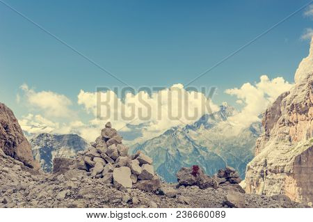 Spectacular Mountain View. Brenta Dolomites In Italy Are Unesco World Heritage Site.
