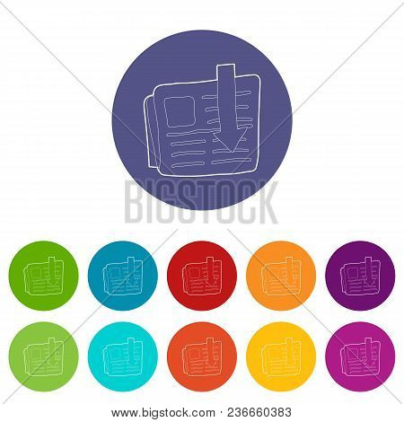 Arrow Download File Icons Color Set Vector For Any Web Design On White Background