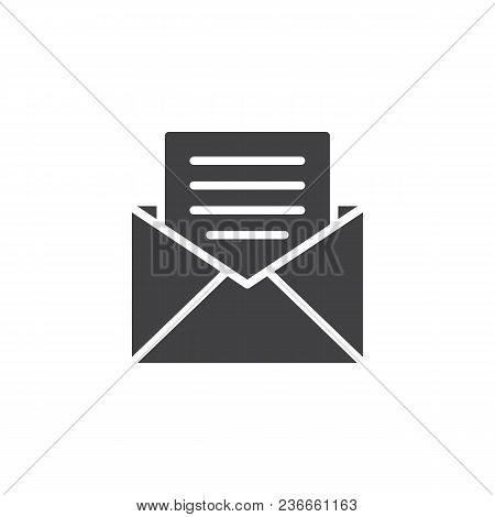 Opened Envelope With Letter Vector Icon. Filled Flat Sign For Mobile Concept And Web Design. Receive