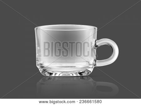 Clear Transparent Glass Cup Isolated On Gray Background With Clipping Path