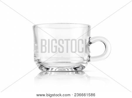 Clear Transparent Glass Cup Isolated On White Background With Clipping Path