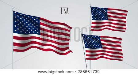 Usa Waving Flag Set Of Vector Illustration. Stripes And Stars Of American Wavy Realistic Flag As A P