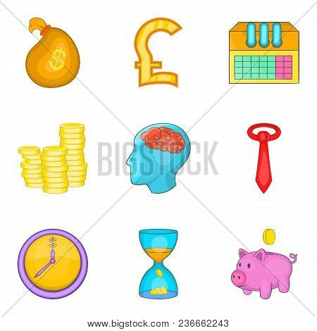 Change Purse Icons Set. Cartoon Set Of 9 Change Purse Vector Icons For Web Isolated On White Backgro