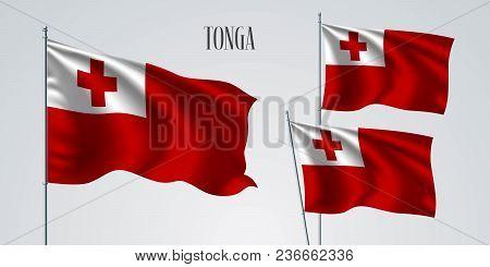 Tonga Waving Flag Set Of Vector Illustration. White Red Colors Of Tonga Wavy Realistic Flag As A Pat