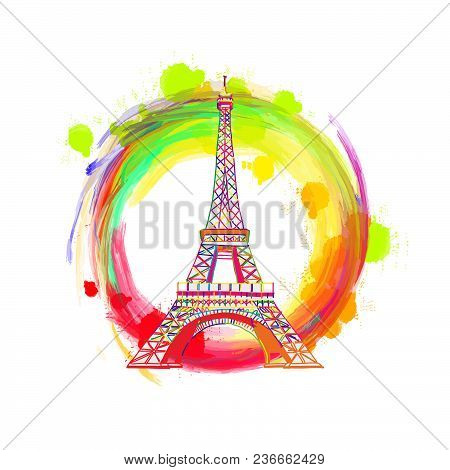 Paris Eiffel Tower Drawing Concept. Hand Drawn Skyline Illustration. Travel The World Concept Vector
