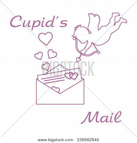 Cupid With Valentine's Card And Hearts Love