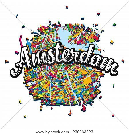 Amsterdam Map With Written Headline. Travel The World Concept Vector Image For Digital Marketing And