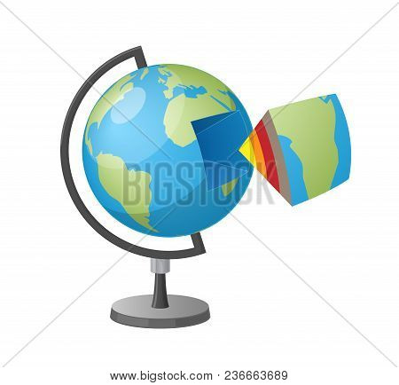 Earth Cutaway Isolated Vector Illustration On White Background. Cartoon Style School Geographical Gl