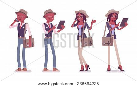 Black Intelligent Smart Casual Man And Woman Wearing Hat And Glasses Standing With Gadgets. Slim Fas