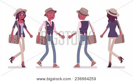 Black Intelligent Smart Casual Man And Attractive Woman Wearing Hat And Glasses Walking. Slim Fashio