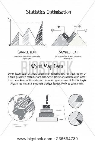 Statistics Optimization And World Map Poster With Earth Icon And Statistics Represented By Graphs, B
