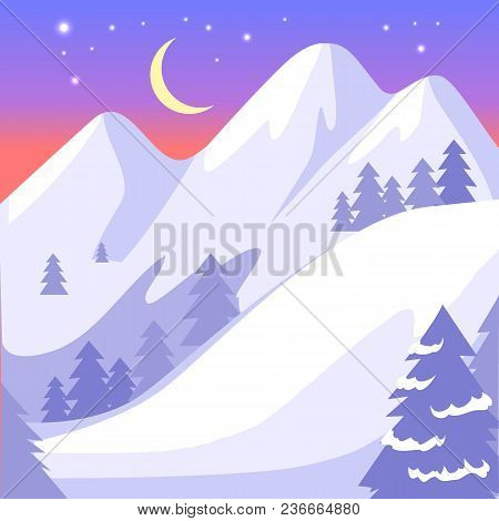 Beautiful Landscape Of High Snowy White Mountains And Moon With Bright Stars On Blue Sky. Vector Bac