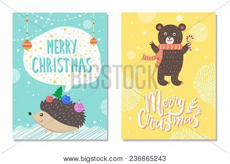 Merry Christmas Wishes From Cute Hedgehog Decorated By New Year Balls And Bear With Lollipop On Back