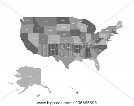 Political Map Of United States Od America, Usa. Simple Flat Vector Map In Four Shades Of Grey With W