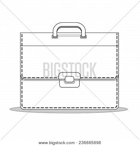 Briefcase Business For Male Vector Illustration In Flat Style. Suitcase, Bag For Documents. With Loc