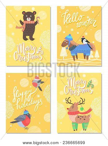 Hello Winter Merry Christmas 60s Theme Postcard With Bear And Horse Dressed In Knitted Sweater. Vect