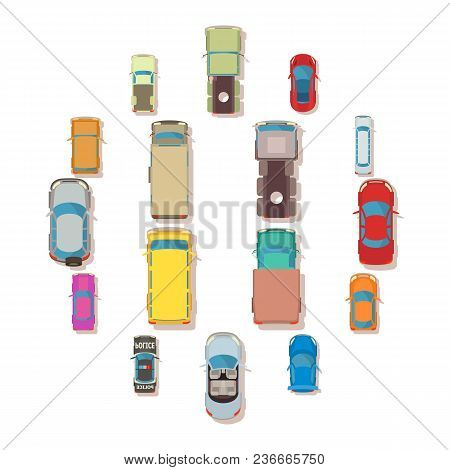 Car Top View Above Over Icons Set. Flat Illustration Of 16 Car Top View Above Over Vector Icons For