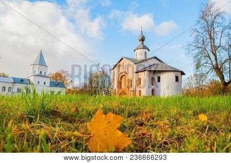 Paraskeva Pyatnitsa Church And Gate Tower At Yaroslav Courtyard In Veliky Novgorod, Russia. Autumn A