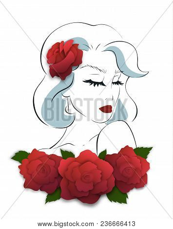 Serious Romantic Woman, Shoulder To Chin Pose. Red Rose In Her Hair. Outline Hand Drawn Female Portr