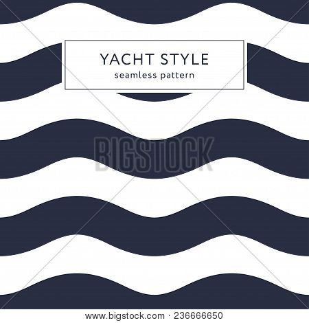 Geometric Waves Seamless Pattern. Yacht Style Design. Simple Navy Blue Background. Template For Prin