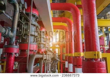 Deluge System Of Firefighting System For Emergency Of Fire Case In Offshore Oil And Gas Platform, Sa