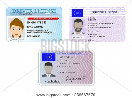 Car Driver License With Photo Vehicle Identity Banner Horizontal Concept Set. Flat Illustration Of 3